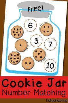 Cookie Jar Number Matching Kostenlos zum Ausdrucken