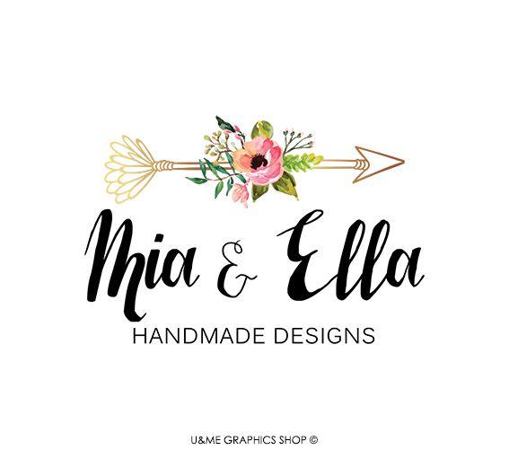 Floral arrow premade logo / U&Me Graphics