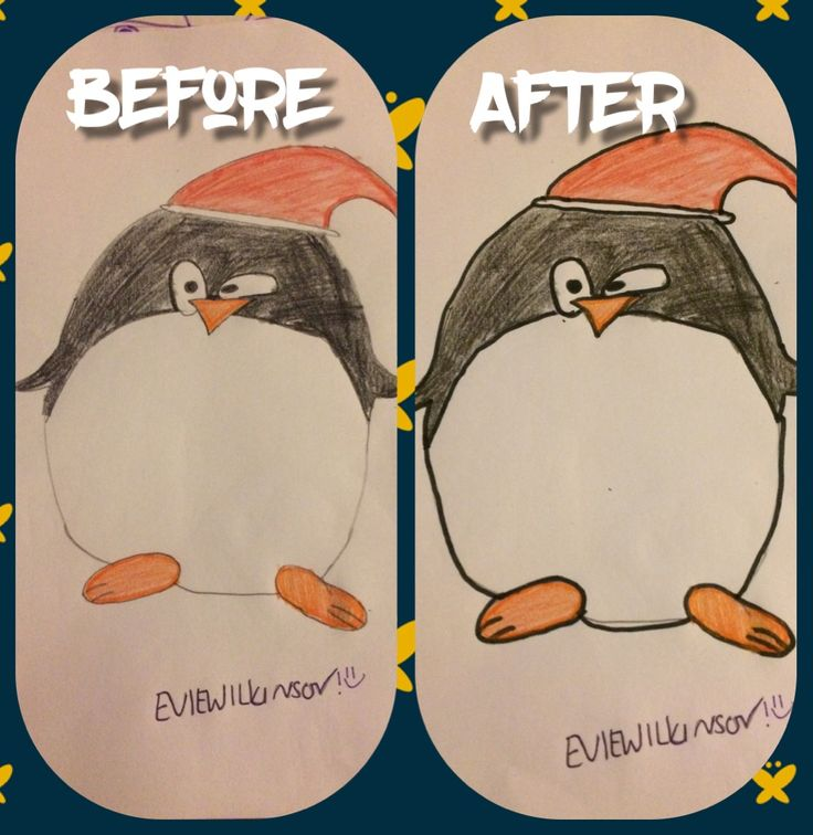 Tis is a picture of the penguin I drew. Before is without the outline and after is with the outline.OPINIONS PLEASE. Drawn by me!!