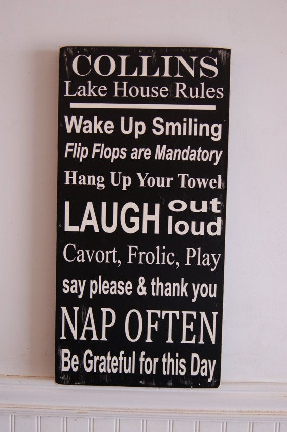 lake house rules wood sign - customizable with our name and our own rules - only $50!
