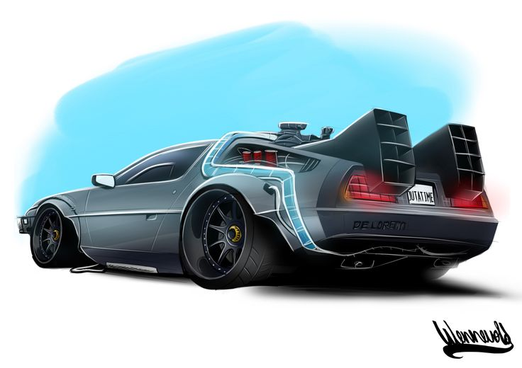 Back to Future Delorean Slammed Drawing Rendering Andreas Hoås Wennevold