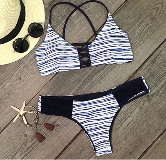Audrina Criss Cross Nautical Strappy Blue White by MilaniaBikinis