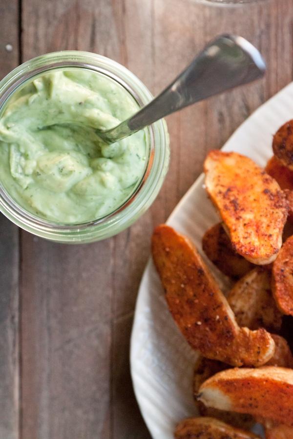 roasted potato fries with avocado aioli: W Avocado Aioli, Recipe, Roasted Potatoes, Food, Gaby Cooking, Avocado Aoili, Potato Fries