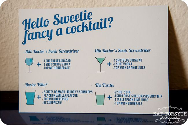cocktail recipes ~ Doctor Who geek wedding
