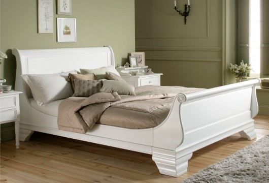 Bordeaux French Style White Wooden Sleigh Bed King Size Bed Frame Only White