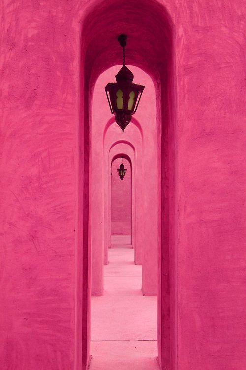 Filas y filas de color rosa. cosas hermosas de color inspiración de la moda de boda ideas de color de rosa caliente
