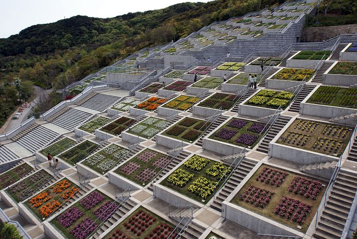 Hyakudanen of Awaji Yumebutai - a contemporary garden on the Island of Awaji, Hyogo prefecture, Japan