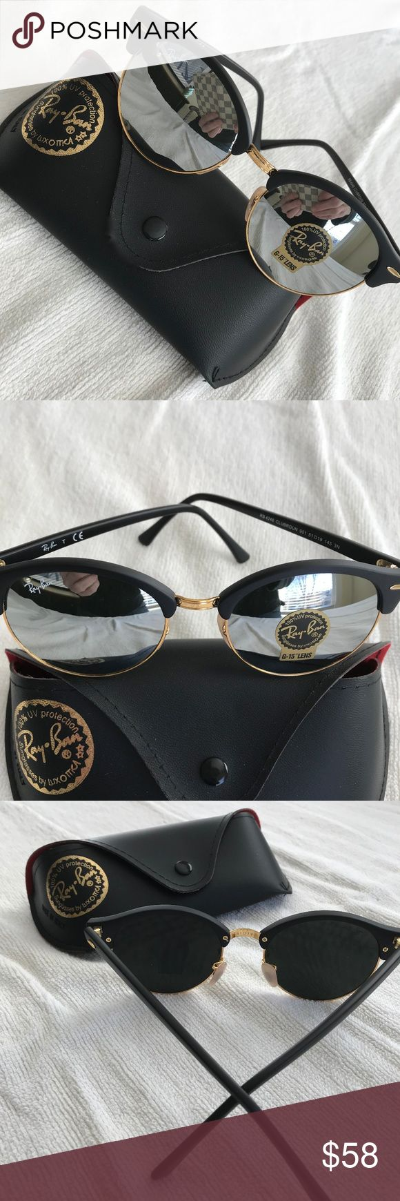 """NEW Ray Ban Roundmaster Mirror Lens Sunglasses NEW - UNISEX Special Edition Roundmaster Mirrored Lens Sunglasses. Fantastic deal. Worn once. Measure 5-1/2"""" across and 5-1/2"""" side arm length. Black Matte Frame with Mirrored Lens and Gold Hardware. Includes Case Pictured. Ray Ban Accessories Sunglasses"""