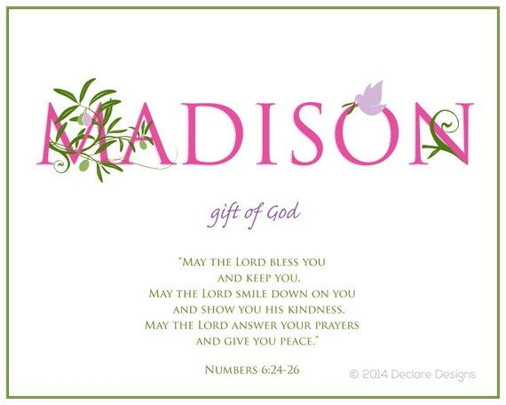 Madison Name Art Canvas With Name Meaning And Scripture Verse Etsy Names With Meaning Hebrew Baby Names Madison Name