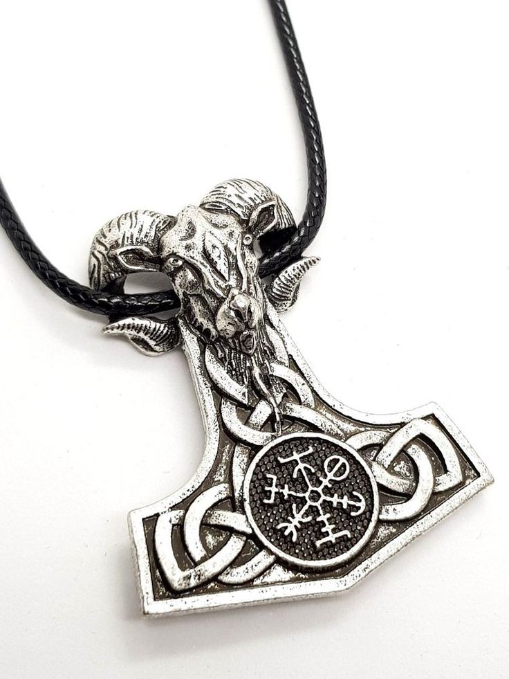 Thor's Hammer Ram Goat PROTECTION SIGIL and VALKNUT 3D Pendant Cord Necklace  #Unbranded #NecklacePendant #thor #nordic #norse #fenrir #hammer #pagan ALL NEW THORS HAMMER DESIGN PROTECTION SIGIL WITH VALKNUT #ECLECTICSHOPUK
