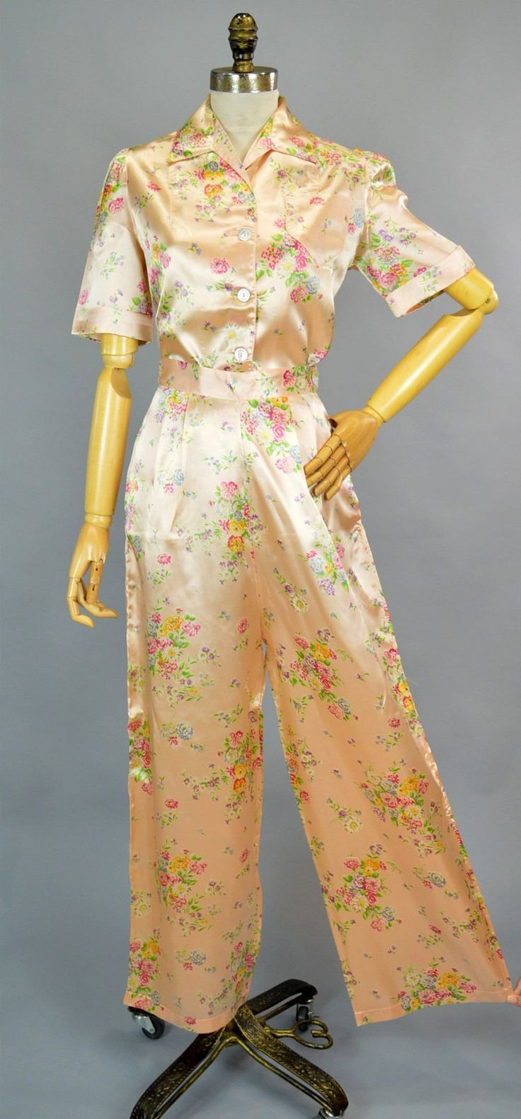 40er Jahre satin Schlafanzug S Jahrgang weites Bein Hose Set