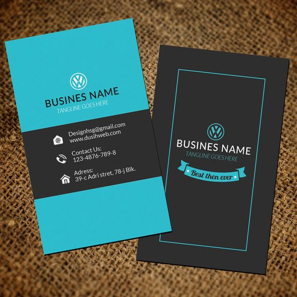 Blue vertical business card by Leza on Creative Market