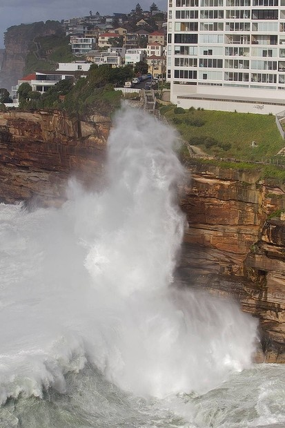 A massive swell pounds the coastline at Diamond Bay in Vaucluse.