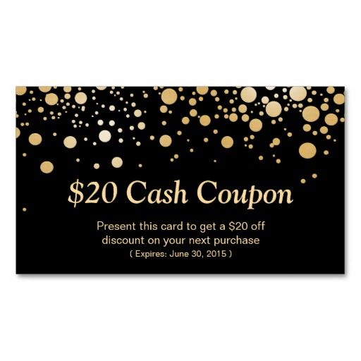 Gold Zig Zags Hair Salon and Spa Discount Coupon | Card templates ...