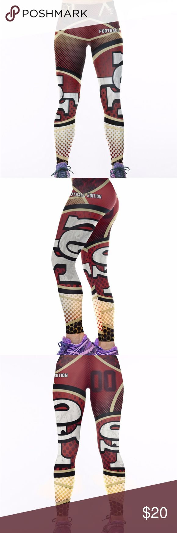San Francisco 49ers Leggings Lightweight soft- quick dry breathable fabric Suitable for any kind of workout, gym, yoga, Zumba, cycling, etc. or casual wear High-quality construction with 6-thread double lock stitch seams Four-way Stretch Material: 82% Polyester, 18% Spandex Pants Leggings