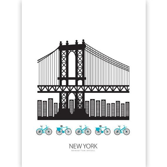 Illustration moderne de New York et Manhattan bridge, avec une touche scandinave. :)  -Imprimé sur 200g papier Epson Premium mat,…