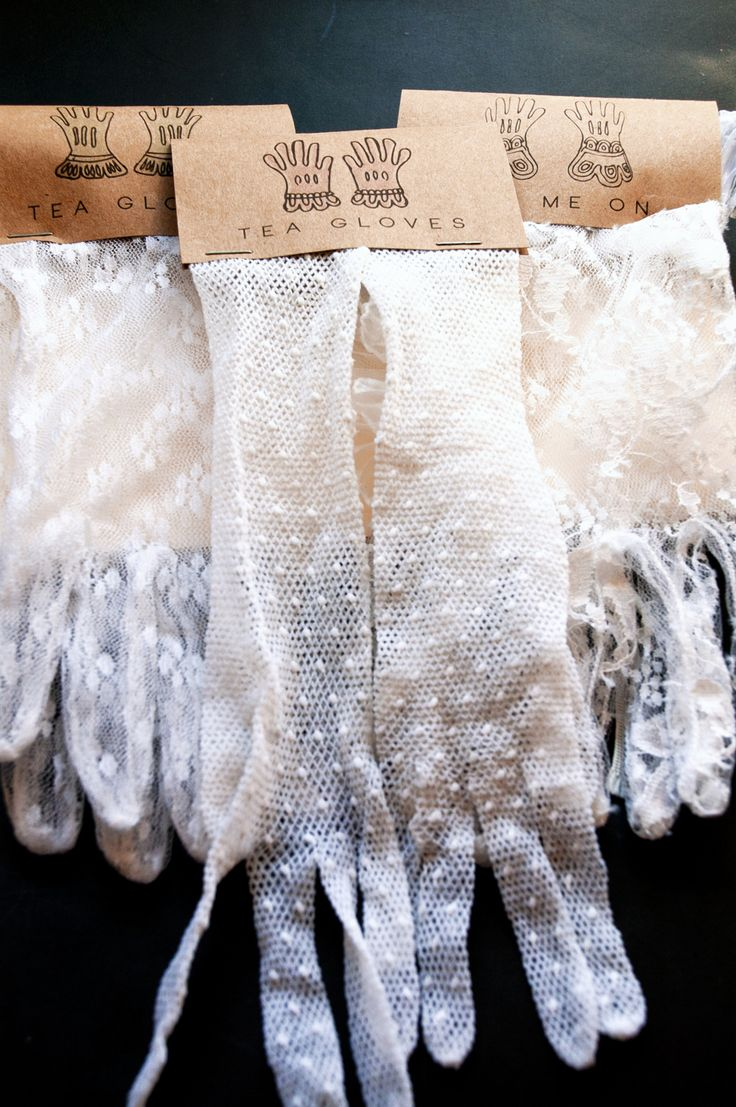 DIY Vintage Tea Gloves, Party Favors. Great for the bridal shower for my Gatsby-themed wedding