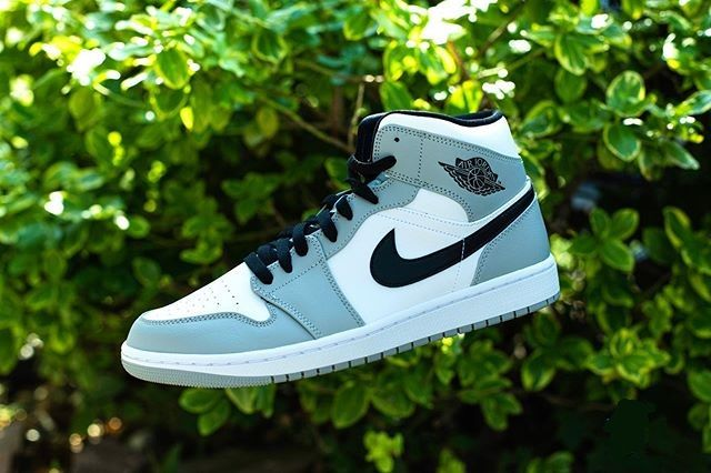 Nike Air Jordan 1 Mid Light Smoke Grey Shoes Women Jordans Men Sneaker Shoes Nike Air Shoes Gray Shoes Women Nike Sneakers Women