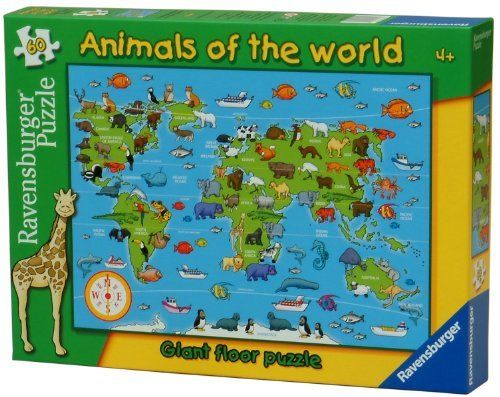 Ravensburger Animals World 60 Piece Floor Puzzle by Ravensburger. $13.95. 60 piece giant floor puzzle. Depicts some of the worlds animals and the regions in which they are found. puzzle size: 27.5 x 19.6 inches (70 x 50 cm) approx. when completed. A unique 60 piece puzzle showing the different animals of the world in the areas they are most likely to be found, to encourage association skills.  Puzzle size: 69cm x 49cm. 3 Years +