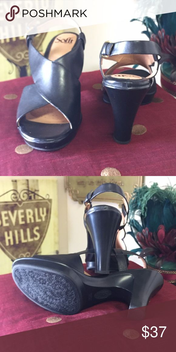 SOFFT black platform slingback Sandal Beautiful  SOFFT black platform slingback Sandal Sofft Shoes Sandals