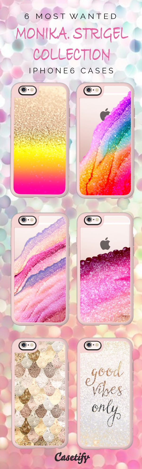 All time favourite iPhone 6 protective phone case designs by Monika Strigel. It's glitter time!    Click through to see more iphone phone case ideas >>> https://www.casetify.com/Monika.Strigel/collection   @casetify