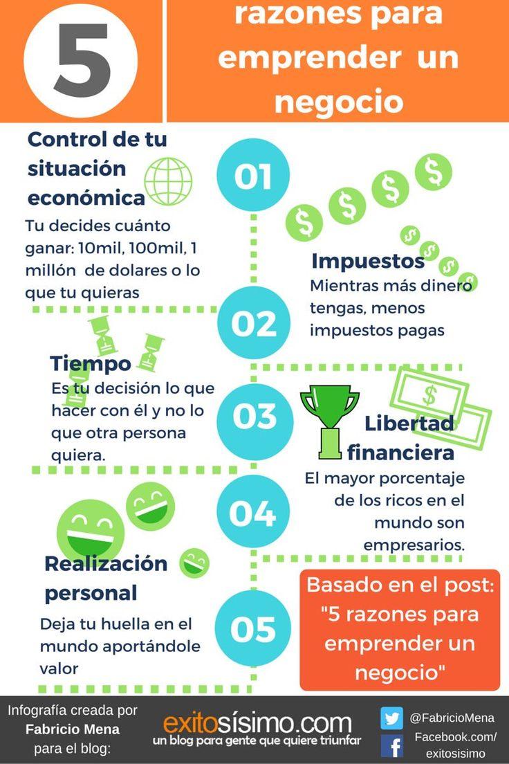 infografía basada en el post: http://www.exitosisimo.com/5-razones-para-emprender-un-negocio/