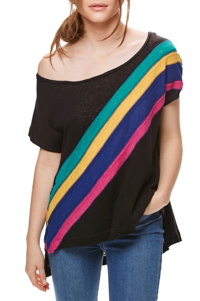 8629ebf1033e55 NWT Free People We the Free Womens Top Black Rainbow Linen Blend Tee Size  Small  FreePeople  Blouse  Casual