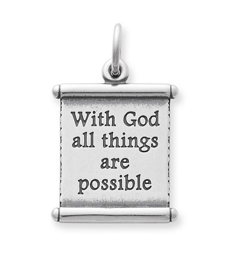 James Avery Sterling Silver  'With God All Things Are Possible' Scripture Charm