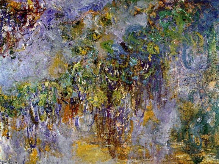 Acheter Tableau 'Wisteria (moitié droite)' de Claude Monet - Achat d'une reproduction sur toile peinte à la main , Reproduction peinture, copie de tableau, reproduction d'oeuvres d'art sur toile