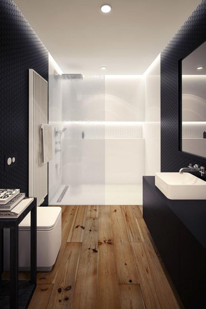 carrelage imitation parquet, carrelage façon bois dans la salle de bain