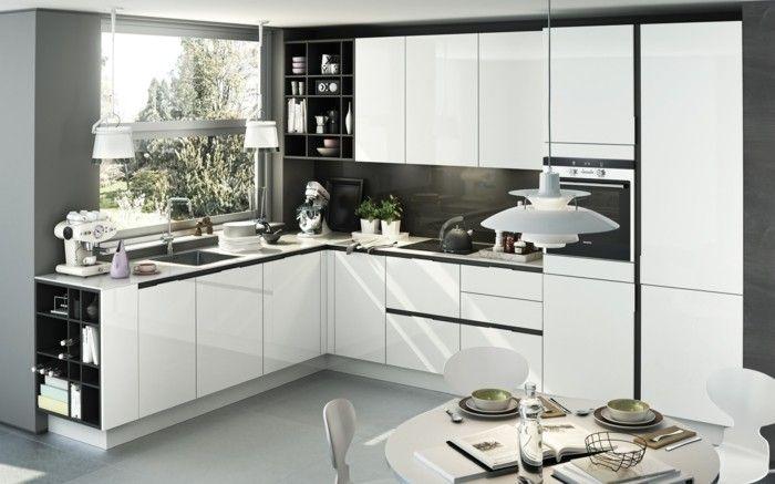 wohnideen küche winkelküche mit weißen küchenschränken und hellgrauem boden