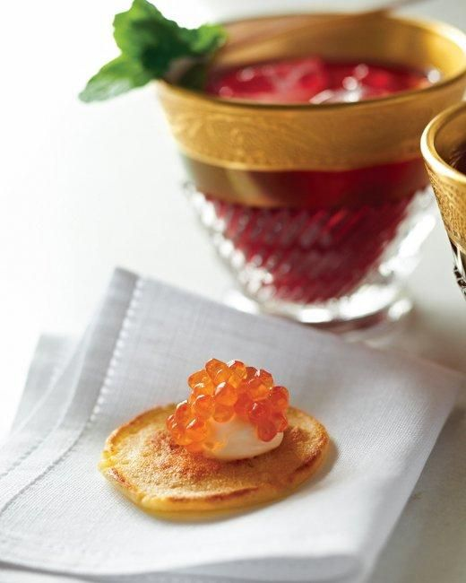 Blini with Caviar Recipe: Blini, Fingers Food Recipes, Pancakes, Martha Stewart, Holidays Wedding, Appetizers, New Years Eve, Creme Fraiche, Finger Food