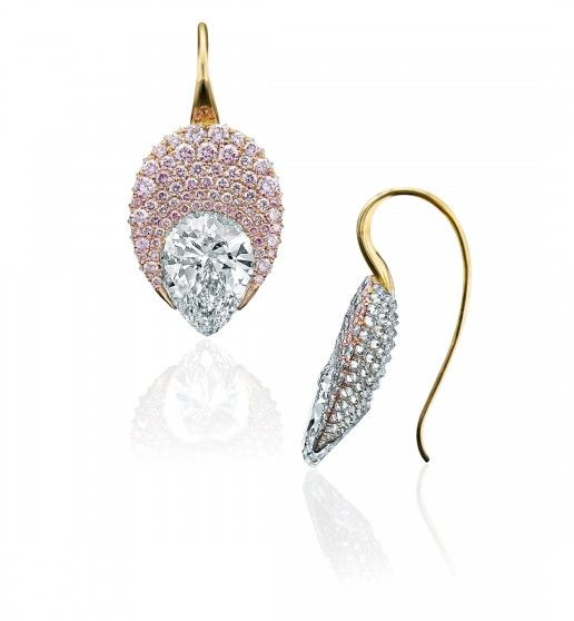 Dragée Earrings – Each centering a pear-shaped diamond, weighing a total of 8.02 carats, with additional pavé set pink and white diamonds. Mounted in 18k yellow, white and rose gold