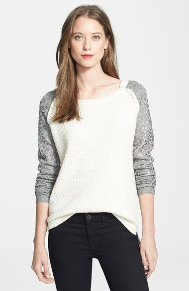 Rebecca Taylor Foil Print Sleeve Ribbed Pullover available at #Nordstrom