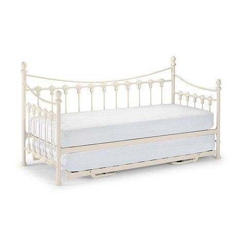 off white etienne single bed frame with guest bed and premier mattresses - Single Bed Frames