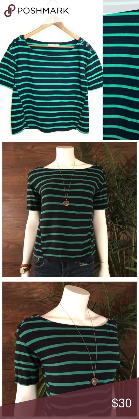 Anthropologie Pilcro Green Navy Striped Top L Pilcro & The Letterpress Nautical/preppy style cotton crop top Women's Size L 100% cotton piqué/marcella Navy sleeves that fold to just above the elbow Button detail at shoulder Excellent gently used condition Anthropologie Tops Crop Tops