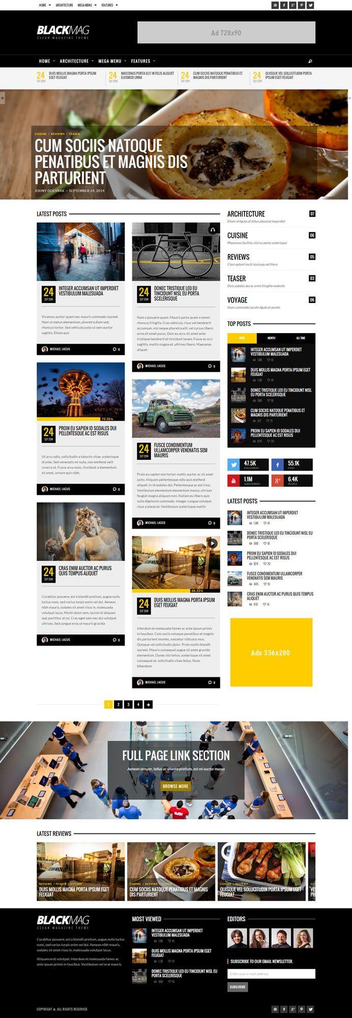 Web Design / yellow, bold, grid, magazine