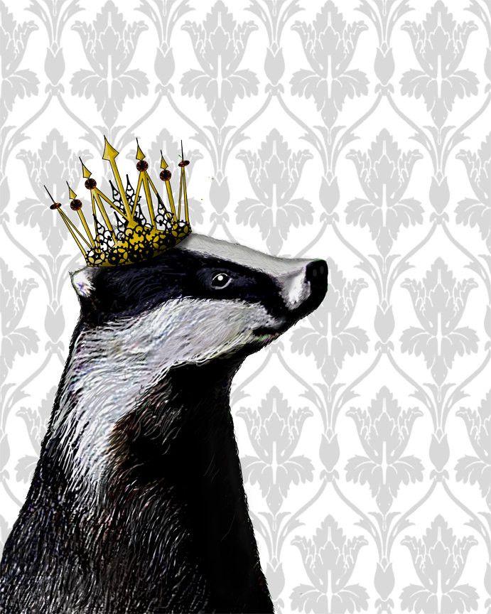 Badger King Book Print