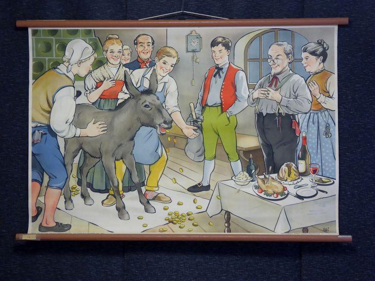 Vintage 1920s 1930s School Poster Donkey Skin Nursery Rhyme - The Collectors Bag
