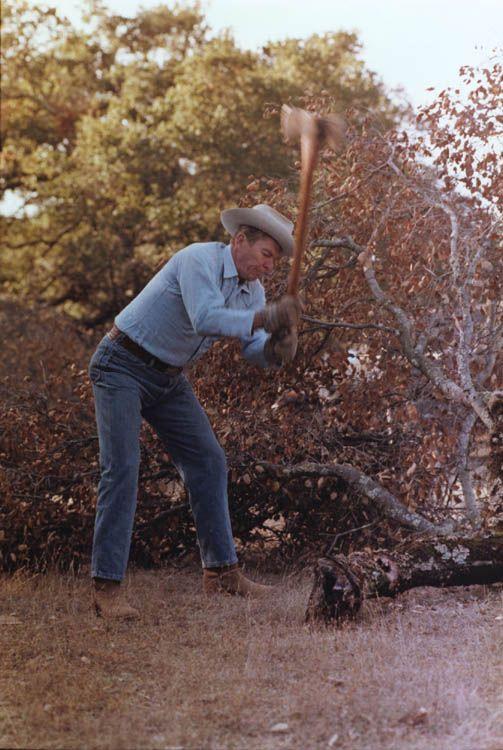 President Ronald Reagan chopping wood at Rancho Del Cielo. 11/24/81.