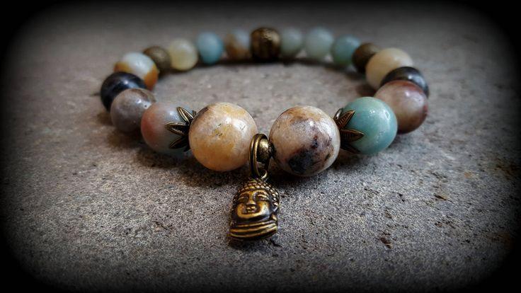 Boho style, stretch gemstone bracelet. Amazonite stone and antique bronze Buddha head charm. Bohemian Jewelry Yoga Jewellery Fashion Gift