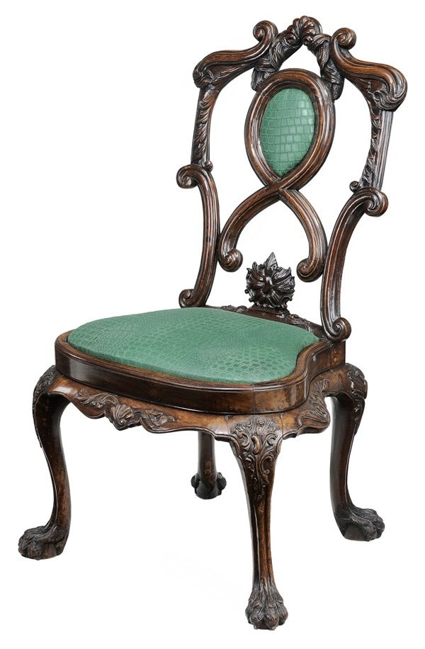 Portuguese Chippendale Carved Mahogany Chair Portuguese or