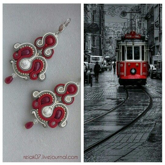 #soutache #earrings #red #white #grey #yuliaozmen