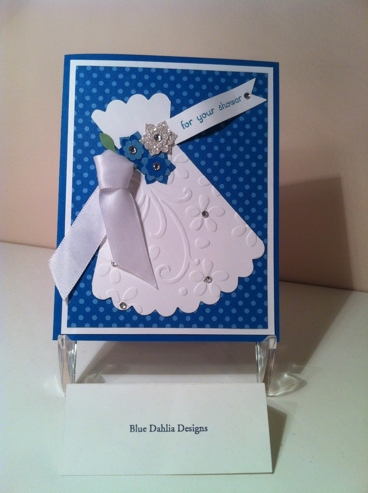 Cute shower card using embossing to create a lace dress