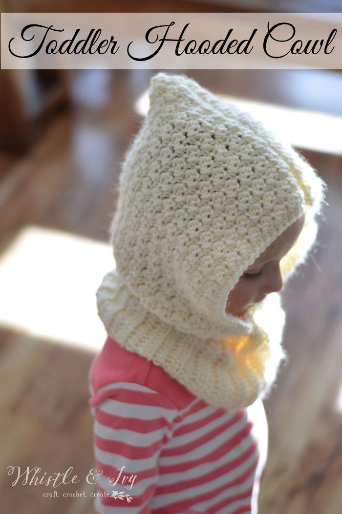 FREE Crochet Pattern: Toddler Hooded Cowl - Keep those sweet little necks and…