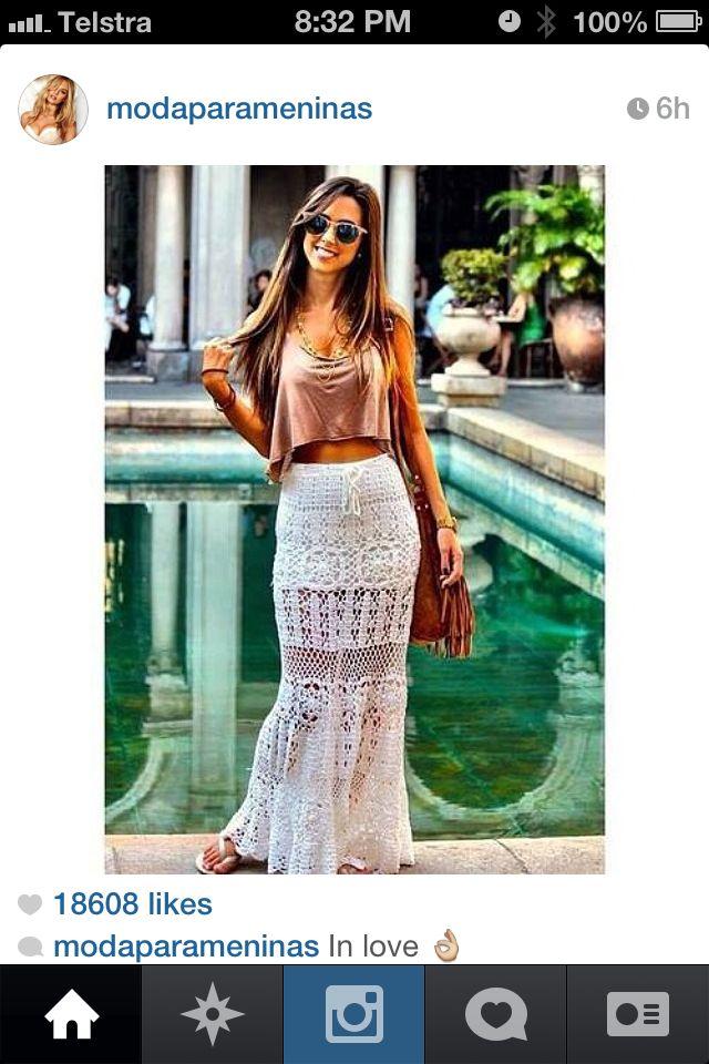 Crop and maxi skirt