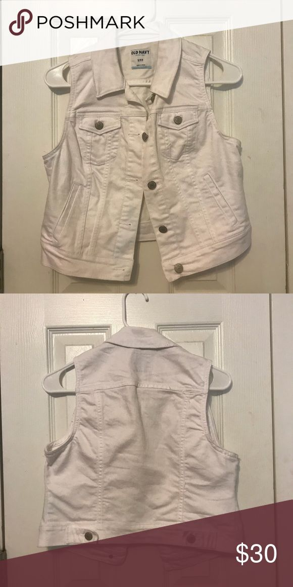 White Jean Vest by Old Navy True to size & only worn once Old Navy Jackets & Coats Vests