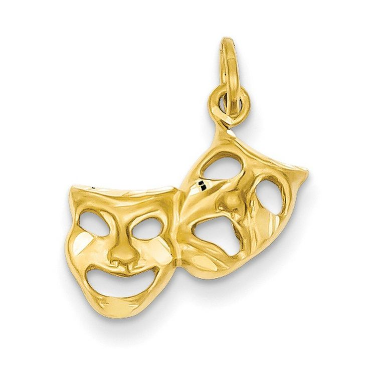 14k Yellow Gold Satin Comedy Tragedy Theater Masks Charm