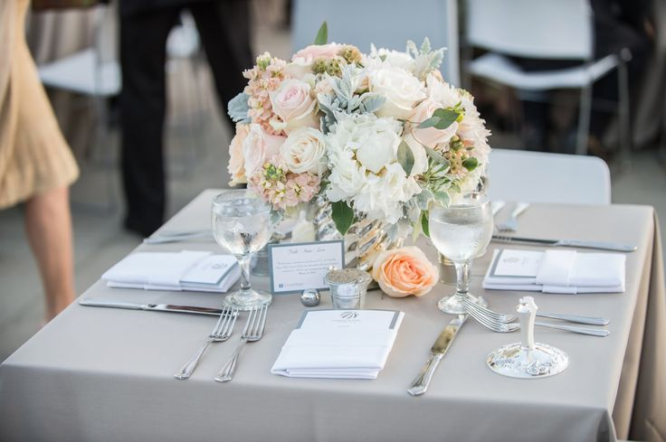 peach-silver-mercury-glass-wedding-centerpiece