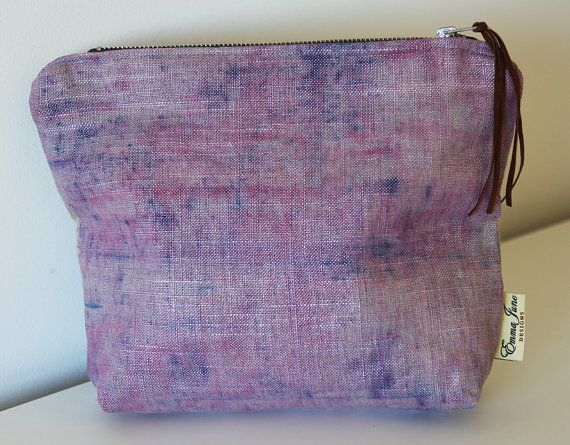 Hand dyed Linen Makeup Bag/ Purse Pink/Purple by EmmaJuneDesigns, €19.00
